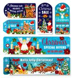 Christmas sale shop dicount vector tags banners. Christmas seasonal sale banners and special promo tags for winter holiday shopping. Vector design set of Xmas Royalty Free Stock Photos