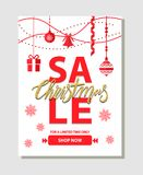 Christmas Sale Shop Now on Vector Illustration. Christmas sale, shop now, for a limited time only, poster with headline placed in centerpiece and icons of Royalty Free Stock Images