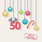 Christmas Sale shop poster design stock illustration