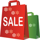 Christmas sale shopping bags Stock Images