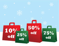 Christmas Sale Shopping Bags. Vector illustration of red and green Christmas sale shopping bags Stock Images