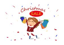 Christmas sale, shopping, end of season, woman, girl character c vector illustration