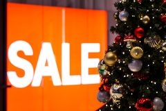 Christmas sale in a shopping mall royalty free stock photo