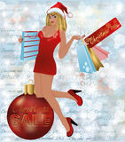 Christmas sale shopping woman with xmas ball Stock Photography