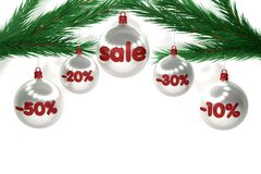 Christmas sale sign on brilliant balls Royalty Free Stock Photography