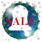 Christmas Sale sign, icon, white background Royalty Free Stock Image