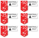 Christmas sale sign. Sale Christmas Sticker tags with sale 10 - 75 percent text on sticker tags Royalty Free Stock Image
