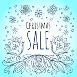 Christmas sale. Snowflakes and winter flowers Stock Image