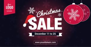 Christmas Sale social media ready banner. Christmas Sale sign on dark snowflakes pattern background. Best for web site or social media banner Stock Photos