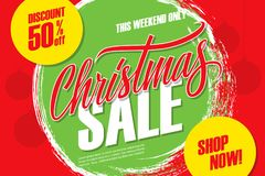 Christmas Sale special offer banner with hand lettering and brush stroke background. Discount up to 50% off. This weekend only. Vector illustration Royalty Free Stock Photos