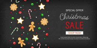 Christmas sale Special offer horizontal banner. Winter festive traditional sweets, cookies, lollipops, candy cane, gingerbread man. On a black background. Top Royalty Free Stock Images