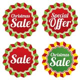 Christmas sale, special offer labels set. Vector. Royalty Free Stock Photography