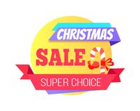 Christmas Sale Special Super Choice Round Label. With candy stick, sweet cock lollipop and text on ribbon vector illustration sticker  on white Stock Image