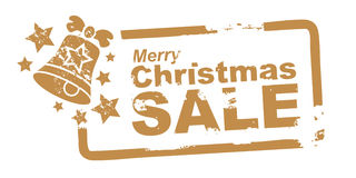 Christmas Sale Stamp gold colour Stock Photography