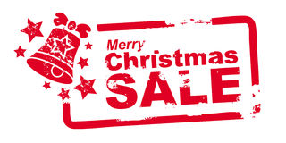 Christmas Sale stamp red Stock Photos