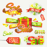 Christmas Sale Sticker, Tag or Label set. Stock Photo