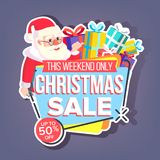 Christmas Sale Sticker Vector. Santa Claus. Up To 50 Percent Off Holiday Badges. Cheap Sign. Isolated Illustration. Christmas Sale Sticker Vector. Santa Claus Royalty Free Illustration