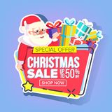 Christmas Sale Sticker Vector. Santa Claus. Shopping Concept. Black Friday Holiday Cheap Sign. Discount Tag, Special. Christmas Sale Sticker Vector. Santa Claus stock illustration