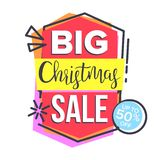 Christmas Sale Sticker Vector. Shopping Concept. Cheap Sign. Discount Tag, Special Offer Banner. Isolated Illustration. Christmas Sale Sticker Vector. Up To 50 vector illustration