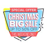 Christmas Sale Sticker Vector. Up To 50 Percent Off Badges. Cheap Sign. Isolated Illustration. Christmas Sale Sticker Vector. Website Stickers, Color Web Page royalty free illustration