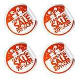 Christmas sale stickers 50,60,70,80 with gift box. Vector illustration Stock Illustration