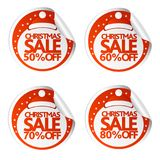 Christmas sale stickers 50,60,70,80 with santa hat. Vector illustration Stock Illustration