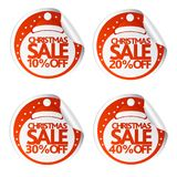 Christmas sale stickers 10,20,30,40 with santa hat. Vector illustration Royalty Free Stock Photos