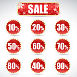 Christmas sale stickers and tags with discounts Royalty Free Stock Photography