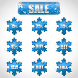 Christmas sale stickers and tags with discounts vector illustration