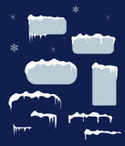 Christmas sale stickers and tags with icicles Royalty Free Stock Images
