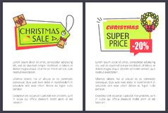 Christmas Sale Super Price Vector Illustration. Christmas sale super price -20 , posters with text sample and letterings, stickers with icons of wreath and bell Royalty Free Illustration