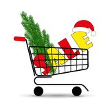 Christmas sale. Supermarket shopping cart with Christmas tree and Santa hats. Vector illustration. Christmas sale. Supermarket shopping cart with Christmas tree Stock Photo
