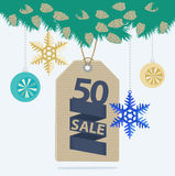 Christmas sale tag or label Stock Image