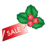 Christmas sale tag with mistletoe Stock Images