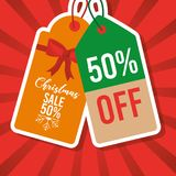Christmas sale tag price 50 percent off marketing. Vector illustration Stock Photography