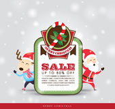 Christmas sale tag. With Santa Claus & Reindeer Stock Photo