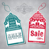 Christmas Sale Tags Stock Photography