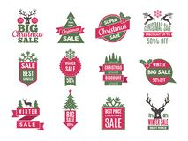 Christmas sale tags badges. Holidays best offers labels with big discounts vector template collection vector illustration