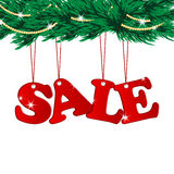 Christmas Sale Tags and Christmas tree. With decorations royalty free illustration