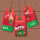 Christmas Sale Tags With Elfs On Wooden Textured Background. Flat Vector Illustration royalty free illustration