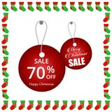 Christmas sale tags with frame. For web design and application interface, also useful for infographics. Vector illustration Stock Photos
