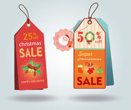 Christmas sale tags. Illustration - vector illustration Stock Image