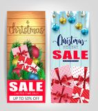 Christmas Sale Tags or Poster Set with Different Color Wooden Background. Promotional Design For Holiday Season. Vector illustration stock illustration