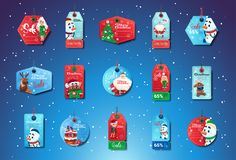Christmas Sale Tags Set Of Colorful Special Offer Stickers Collection. On Blue Background With Snowflakes Flat Vector Illustration royalty free illustration