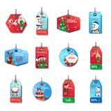 Christmas Sale Tags Set Of Colorful Special Offer Stickers Collection On White Background. Flat Vector Illustration stock illustration