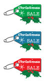 Christmas sale tags. Set of three Christmas sale tags isolated on a white background Stock Illustration