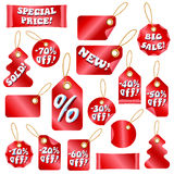 Christmas Sale Tags With Snow Letters Royalty Free Stock Photography