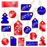 Christmas Sale Tags With Snowflakes Royalty Free Stock Images