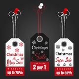 Christmas sale tags with snowflakes Royalty Free Stock Image
