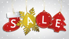 Christmas sale tags on a snowy background Stock Photo